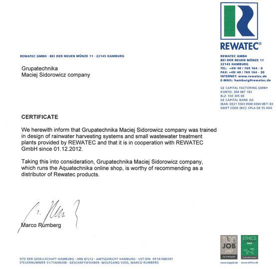 Aquatechnika - autoryzowany sklep firmy Rewatec