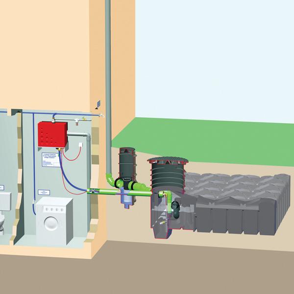 Schemat instalacji zbierania deszczówki dla domu F-Line McRain